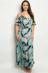 C23-A-1-D2377X BLACK MULTI WITH LEAVES PLUS SIZE DRESS 2-1-2