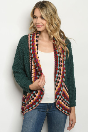 S4-8-1-C807 GREEN MULTI CARDIGAN 3-3