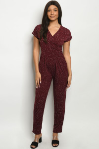C7-A-1-J14925 BURGUNDY WHITE POLKA DOTS JUMPSUIT 2-2-2