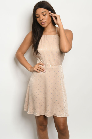 S3-7-2-D8067 CHAMPAGNE WITH DOTS DRESS 2-2-2