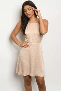 S19-12-1-D8067 CHAMPAGNE WITH DOTS DRESS 2-1-1