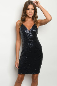 SA4-5-1-D73542 NAVY WITH SEQUINS DRESS 2-2-2  ***WARNING: California Proposition 65***