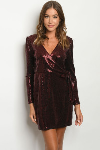 SA4-5-1-D75544 BURGUNDY WITH SEQUINS DRESS 2-2-2  ***WARNING: California Proposition 65***