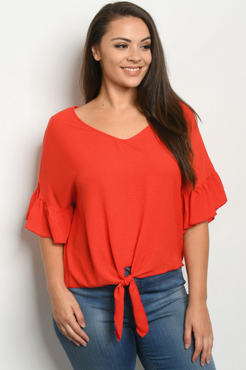 C34-A-1-T2433X ORANGE PLUS SIZE TOP 2-2-2