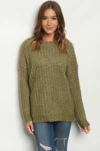 S9-20-1-S0482 OLIVE SWEATER / 6PCS