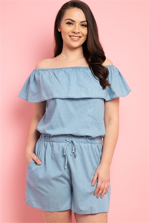 S9-11-1-R1002X LIGHT DENIM PLUS SIZE ROMPER 2-2-2