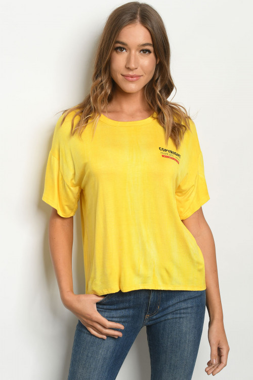 C84-A-1-T6192 YELLOW TIE DYE TOP 4-1-3