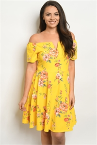 C94-A-2-D2411X YELLOW FLORAL PLUS SIZE DRESS 2-2-2