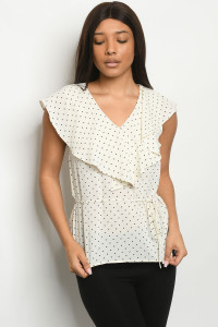 S22-12-2-T7758 IVORY BLACK WITH DOTS TOP 2-2-2