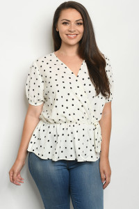 S8-14-3-T7766X IVORY BLACK WITH DOTS PLUS SIZE TOP 3-2-1