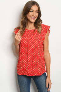 S19-9-2-T1003 RED WHITE WITH DOTS TOP 2-2-2-2