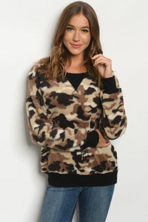 C49-B-1-S3811 BROWN CAMOUFLAGE SWEATER 2-2-2