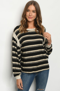 C11-B-2-T3902 BLACK STRIPES TOP 2-2-2