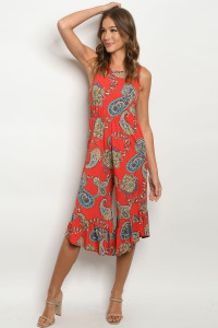 C20-A-1-R5166 RED PAISLEY PRINT ROMPER 2-2-2