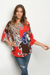 C38-A-1-T5028 RED MULTI PRINT TOP 2-2-2