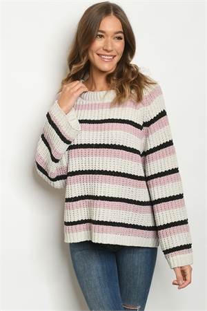 S10-20-1-S30956 CREAM MAUVE STRIPES SWEATER 3-3