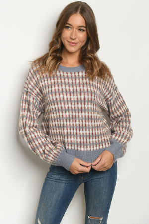 S12-9-1-S4104 BLUE TAUPE SWEATER 3-2-1