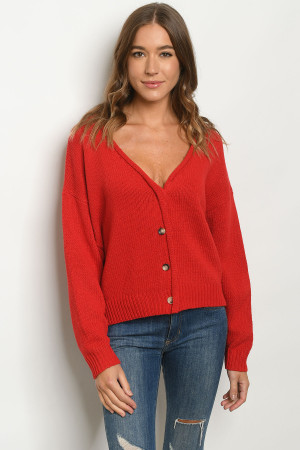 S12-9-1-S2771 RED SWEATER 3-2-1