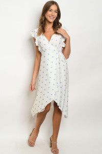 S6-3-2-D9103 WHITE BLUE POLKA DOTS DRESS 2-2-2