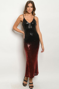 S6-8-1-D8443 BLACK RED WITH SEQUINS DRESS 2-2-2  ***WARNING: California Proposition 65***
