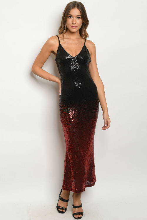 S14-9-2-D8443 BLACK RED WITH SEQUINS DRESS 3-3  ***WARNING: California Proposition 65***