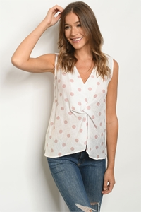 S20-11-2-T3158 OFF WHITE BLUSH WITH DOTS TOP 3-2-1