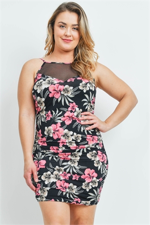 C40-A-3-D3610X BLACK FLORAL PLUS SIZE DRESS 2-2-2