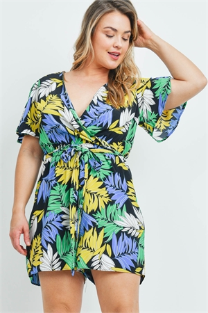 C70-A-2-R2391X BLACK WITH LEAVES PRINT PLUS SIZE ROMPER 2-2-2