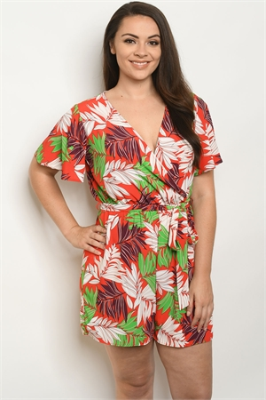 C72-A-2-R2391X RED WITH LEAVES PRINT PLUS SIZE ROMPER 2-2-2