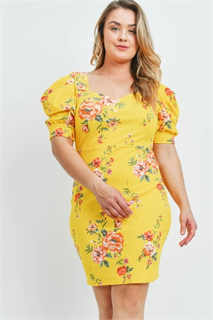 C84-A-1-D2407X YELLOW FLORAL PLUS SIZE DRESS 2-2-2