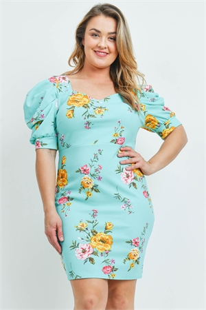 C88-A-2-D2407X MINT FLORAL PLUS SIZE DRESS 2-2-2