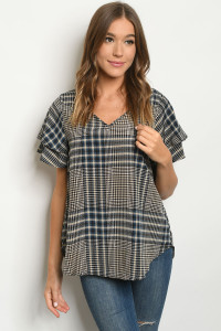 S23-12-4-T8646 NAVY TAUPE CHECKERED TOP 2-2-2