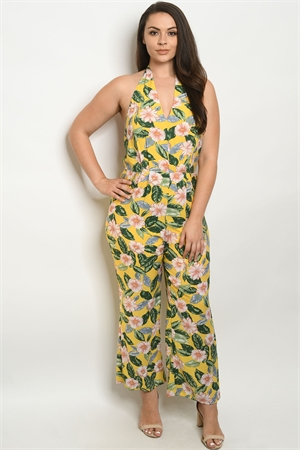 S10-18-2-J59764X YELLOW WITH FLOWER PLUS SIZE JUMPSUIT 2-2-2