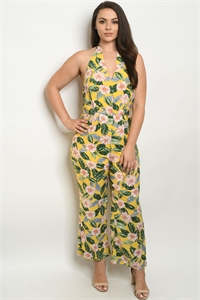 S18-9-1-J59764X YELLOW WITH FLOWER PLUS SIZE JUMPSUIT 2-1-2
