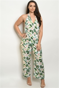 S10-18-2-J59764X WHITE WITH FLOWER PLUS SIZE JUMPSUIT 2-2-2