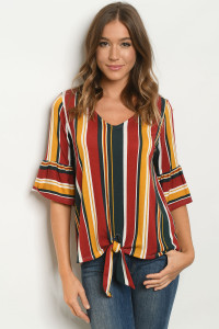 C10-B-1-T50968 BURGUNDY STRIPES TOP 2-2-2