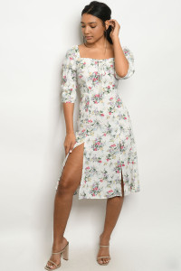 SA4-6-2-D0047 OFF WHITE FLORAL DRESS 3-2-1