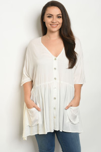 S5-2-2-T3104X WHITE PLUS SIZE TOP 2-2-2
