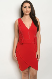S11-20-2-S6275X RED PLUS SIZE DRESS 2-2-2