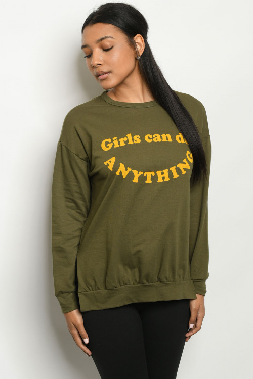 "C16-B-1-T5710 OLIVE ""GIRLS CAN DO ANYTHING"" PRINT TOP 2-2-2"