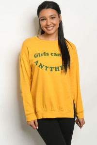 "C16-B-1-T5710 MUSTARD ""GIRLS CAN DO ANYTHING"" PRINT TOP 2-2-2"