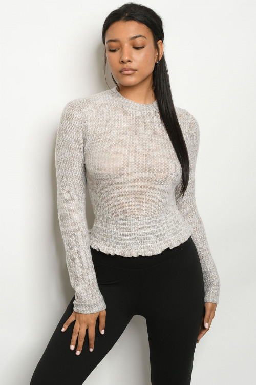 C32-B-2-T6856 TAUPE IVORY SWEATER 2-2-2