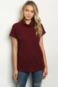 C96-A-1-T5686 BURGUNDY TOP / 2PCS