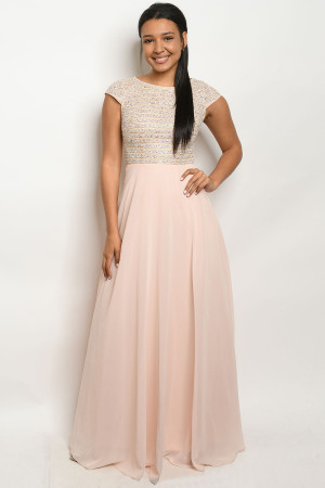 S20-12-2-D2661 PINK BEIGE DRESS 2-2-2  ***WARNING: California Proposition 65***