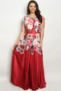 S4-8-1-D26358X RED WITH ROSES PLUS SIZE DRESS 3-2-1