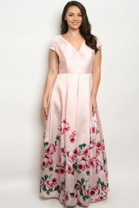 S2-7-1-D26267X BLUSH WITH ROSES PLUS SIZE DRESS 3-2-1