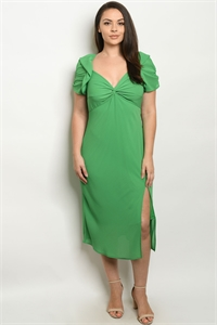 S8-7-2-D32595X GREEN PLUS SIZE DRESS 2-2-2