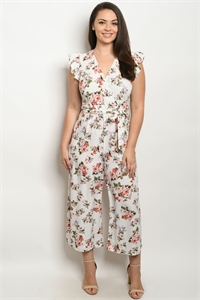 S7-9-2-J59811X OFF WHITE FLORAL PLUS SIZE JUMPSUIT 2-2-2