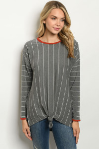 C50-A-3-T50207 GRAY STRIPES TOP 2-2-2