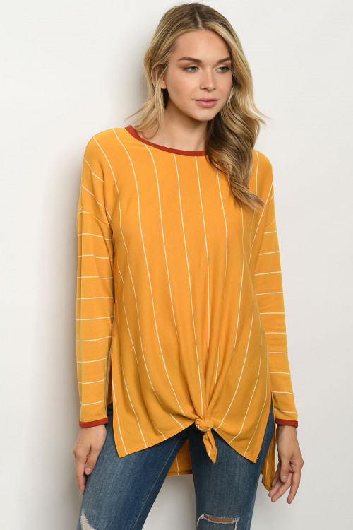 C52-A-1-T50207 MUSTARD STRIPES TOP 2-2-2